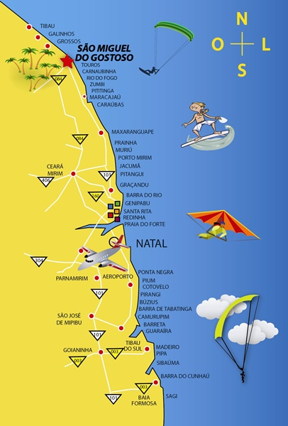 Mapa do Litoral norte de Natal