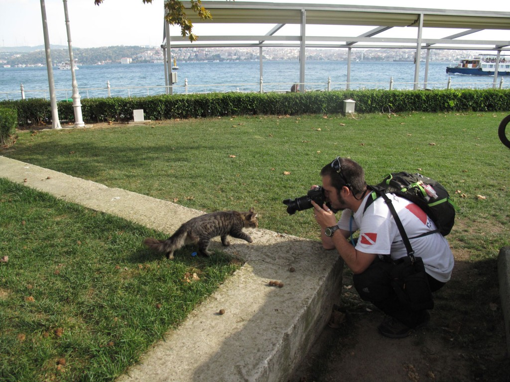 Igor tirando foto do gato