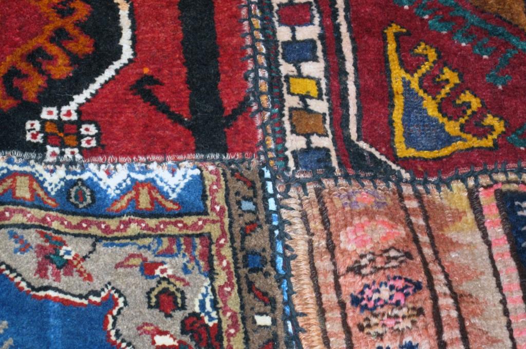 Detalhe da costura do Tapete Patchwork