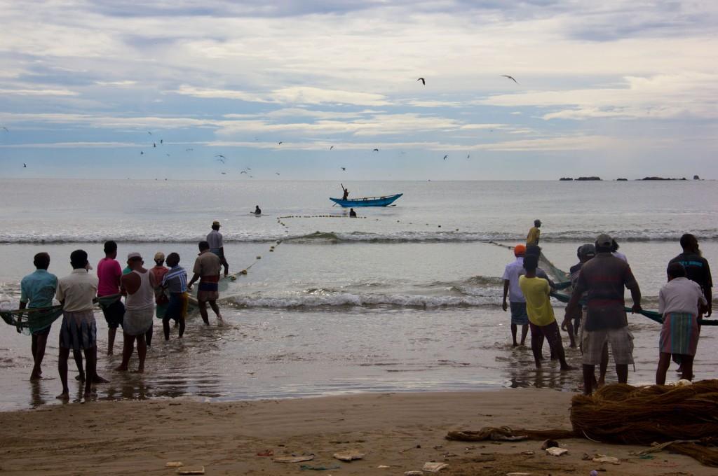 De forma muito organizada, os pescadores puxavam a rede do mar