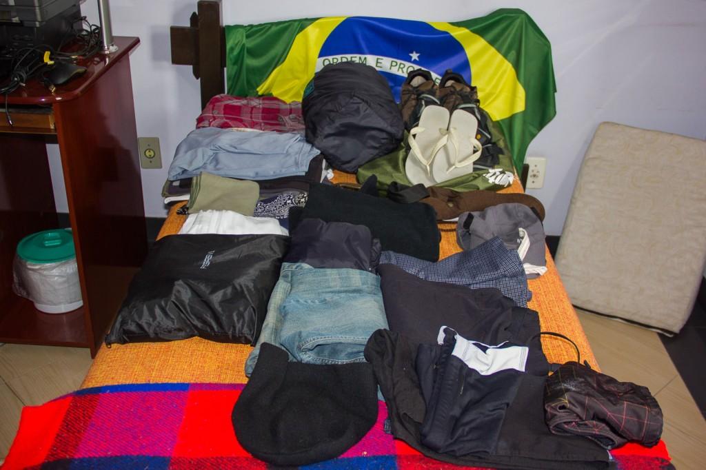 Todas as coisas que carreguei nas costas, antes de entrarem na mochila