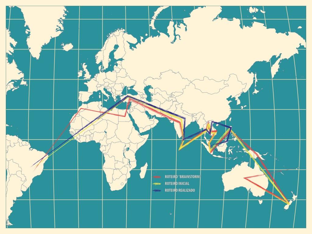 Mapa com os roteiros do Travel For Change